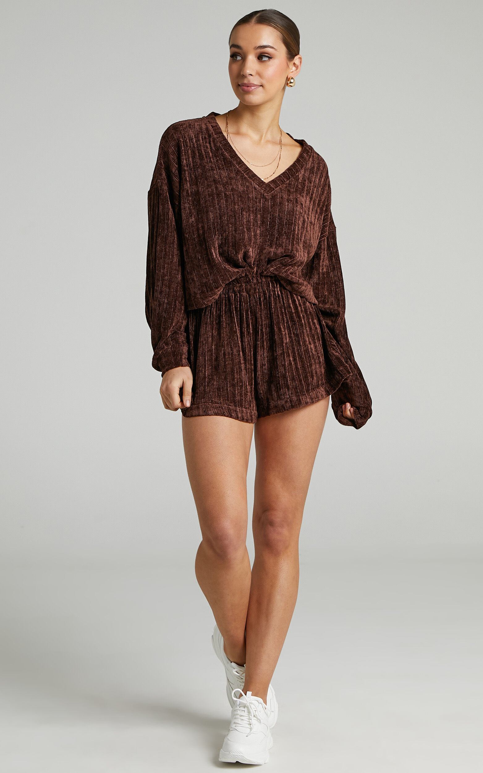 Filomena Chenille Slouch Crop Jumper in Chocolate - 04, BRN1, super-hi-res image number null