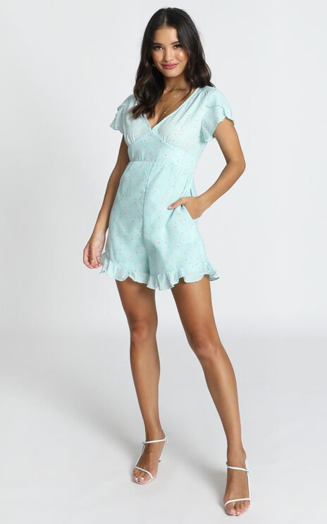 Elianna Frill Playsuit In Blue Floral