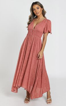 Claudia Midi Dress in rust spot