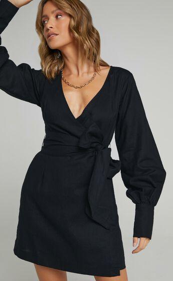 Charlie Holiday - Bella Wrap Dress in Black