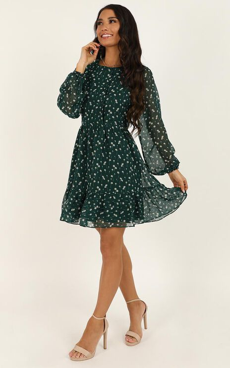 Not Together Dress In Emerald Floral