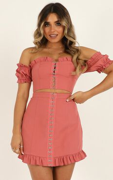Carry All Your Feelings Two Piece Set In Dusty Rose