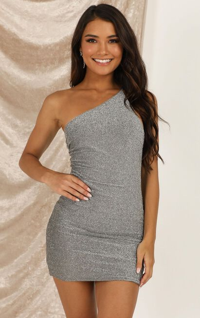 Raging Seas dress in silver lurex - 16 (XXL), Silver, hi-res image number null