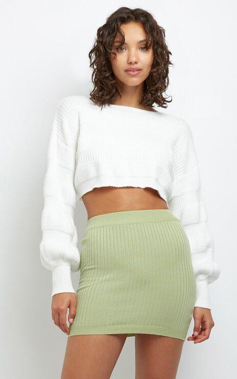 Fleur Knit Skirt in Sage