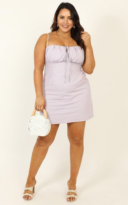 Break Free With Me Dress in lilac linen look - 20 (XXXXL), Purple, hi-res image number null