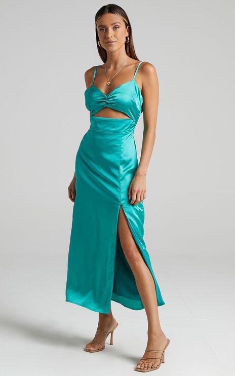 Arwen Dress in Jade Satin
