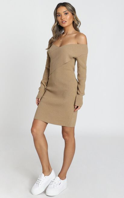Unlocked Knit Dress in camel - 20 (XXXXL), Camel, hi-res image number null