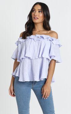 Adalee Bardot Top In Lilac Linen Look