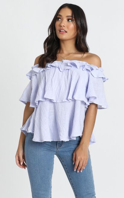 Adalee Bardot Top in lilac linen look - 14 (XL), Purple, hi-res image number null