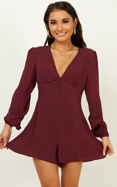 Stuck With It Playsuit In Aubergine