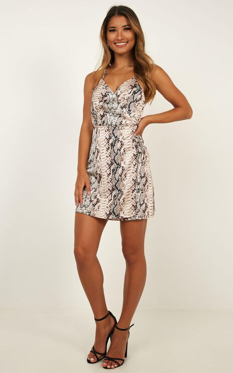 All Things Nice Dress In Snake Print Satin