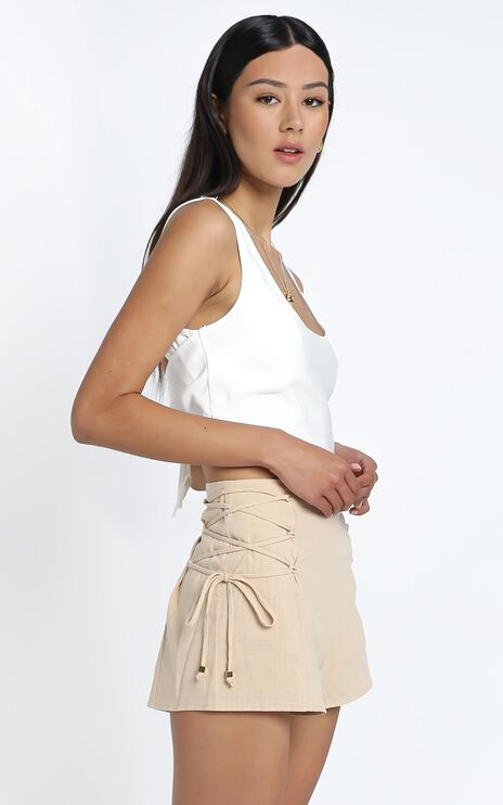 Dempsey Shorts in Beige Linen Look