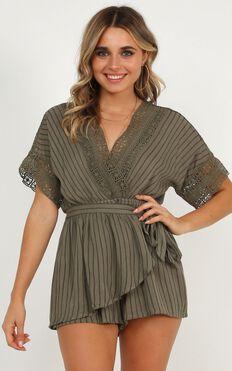 Find Your Destiny Playsuit In Khaki Stripe