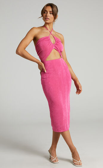 Bamba Cross Front Cut Out Midi Dress in Hot Pink