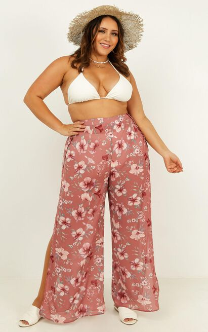 never skip a beat pants in rose floral - 12 (L), Blush, hi-res image number null