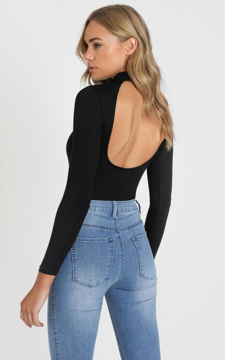 Just Be Yourself Bodysuit In Black