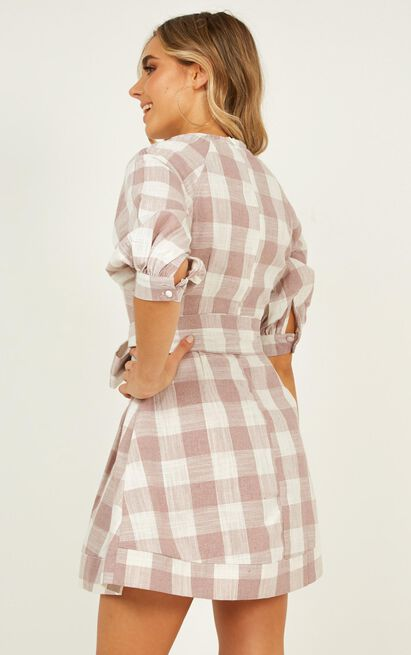 Fun Fact dress in blush check linen look - 12 (L), Blush, hi-res image number null