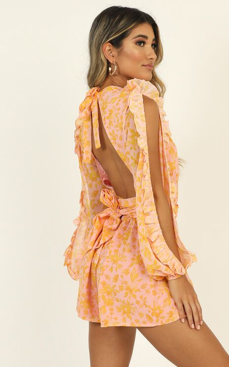 All The Good Girls Playsuit In Lemonade  Floral