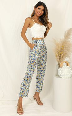 Travelled Many Miles Pants In Blue Floral