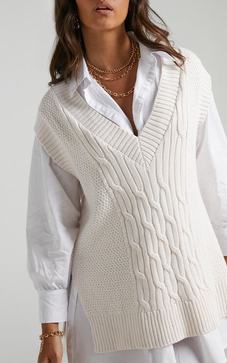 Cadha Knit Vest in Cream