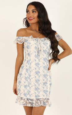 Happy Love Dress In White Blue Lace