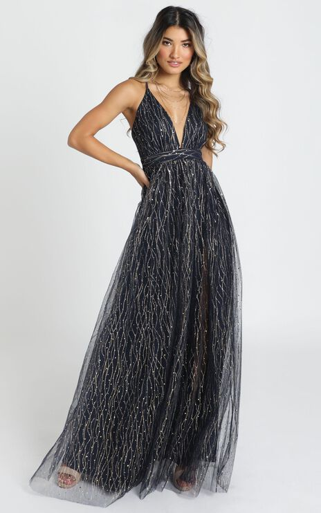 Orlando Maxi Dress In Navy Glitter