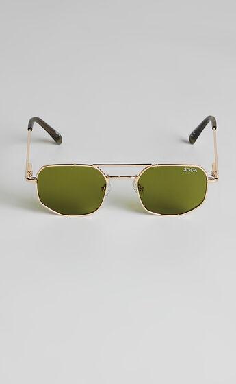 Soda Shades - Maverick Sunglasses in Gold/Green