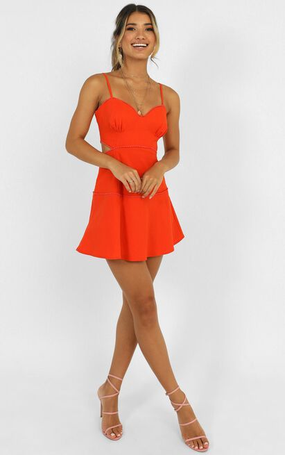 Tell Me How To Love Dress in orange linen look - 6 (XS), Orange, hi-res image number null