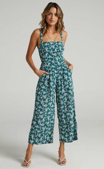 In Your Soul Jumpsuit in Sage Floral