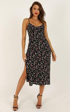 Sheridan Midi Dress In Black Floral