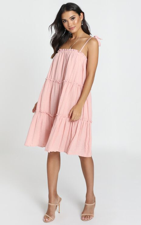 Rosabel Tiered Smock Dress in Pink