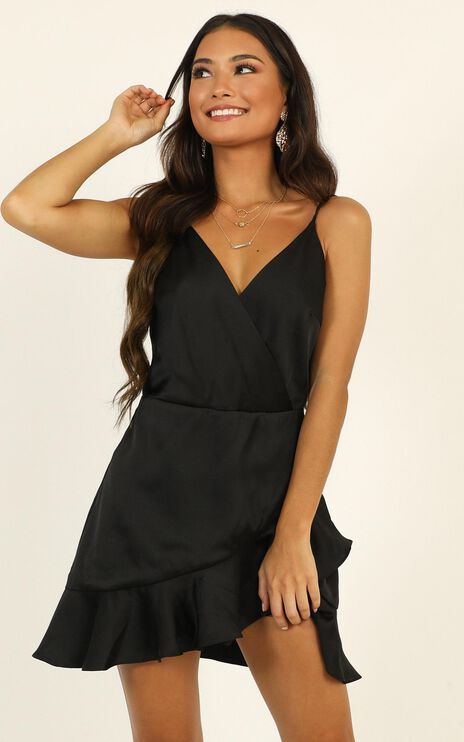 Cloud Cover Dress In Black Satin