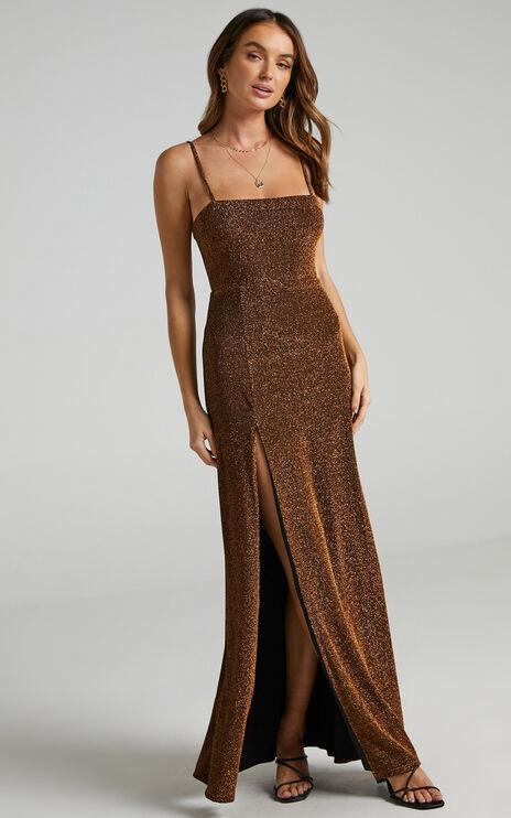 Rheannon Maxi Split Mesh Dress in Copper Lurex