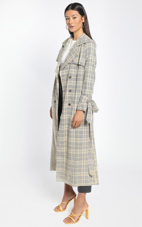 We Could Be Heroes Trench Coat in camel check