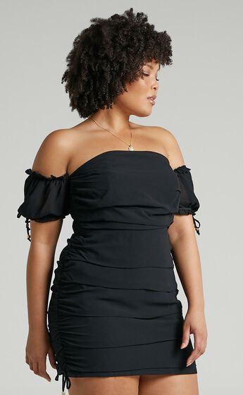 Cant Get You Off My Mind Off The Shoulder Mini Dress in Black