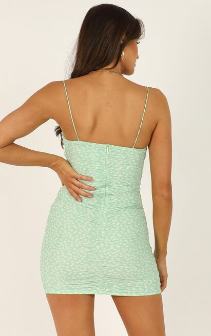 Ladys Orchid Dress In Green Floral - 16 (XXL), Green, hi-res image number null
