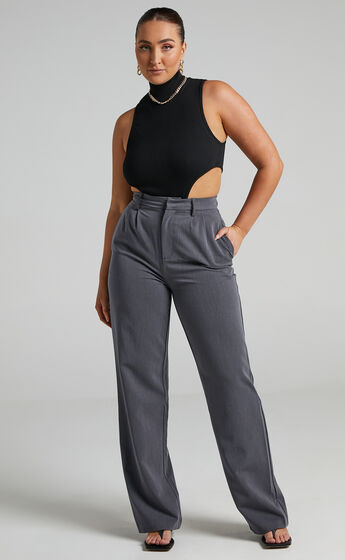 Lorcan High Waisted Tailored Pants in Charcoal