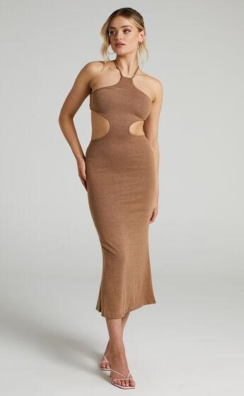 Saskia Side Cut Out Midi Dress in Chocolate