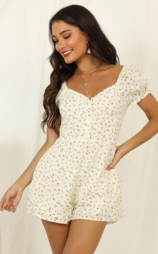 A Cracking Start Playsuit In Cream Floral