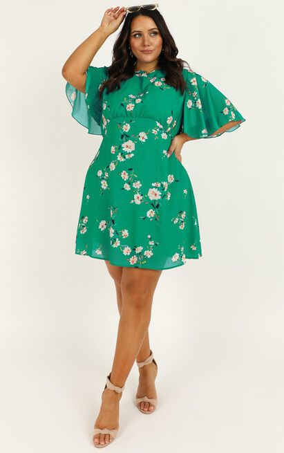 Cheers To Us Dress in green floral - 20 (XXXXL), Green, hi-res image number null