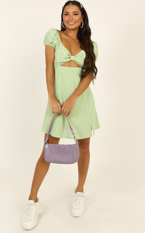 Next Flight Out Dress In Green Spot