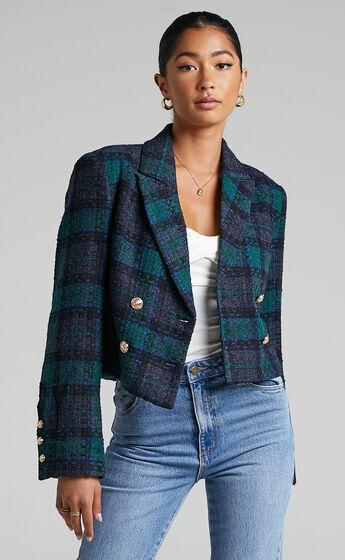 Tomiko Cropped Tweed Blazer in Green Tweed