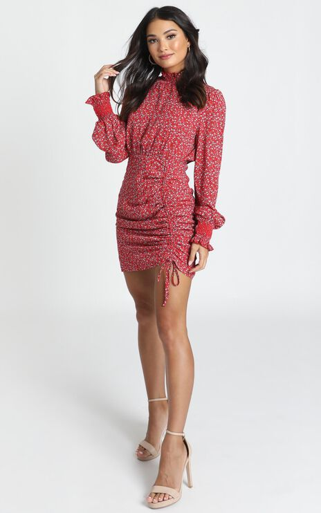 Linda High Necked Mini Dress In Red Floral