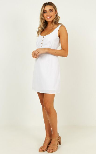 Live Loud Dress in white linen - 12 (L), White, hi-res image number null