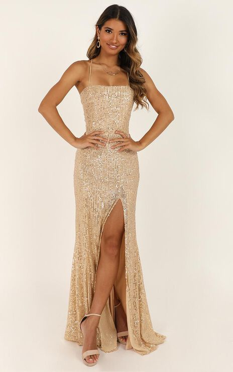 Magic Hour Maxi Dress In Gold Sequin