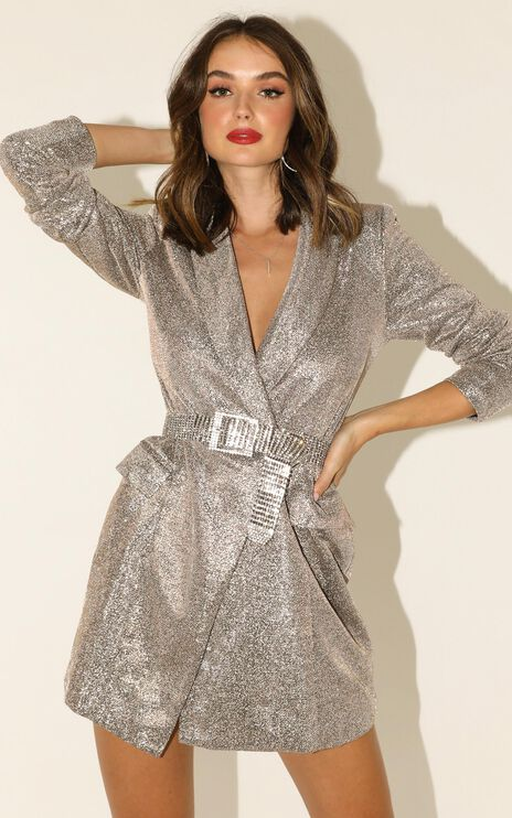 Make It Here Blazer Dress In Silver