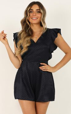 Dressed To The Nines Playsuit In Navy Satin