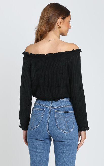 Caught You Staring Knit Jumper In black - 4 (XXS), Black, hi-res image number null