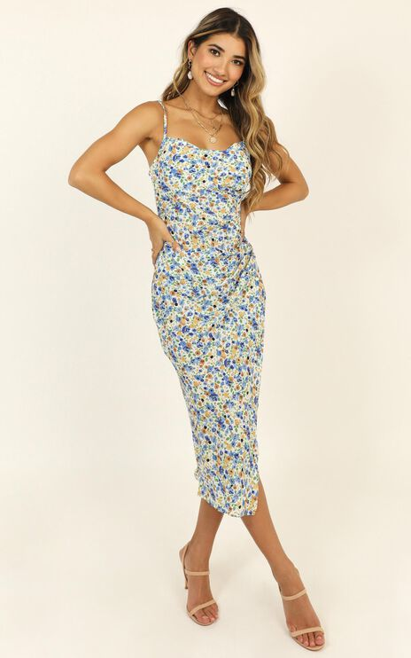 Give Your All dress In Blue Floral
