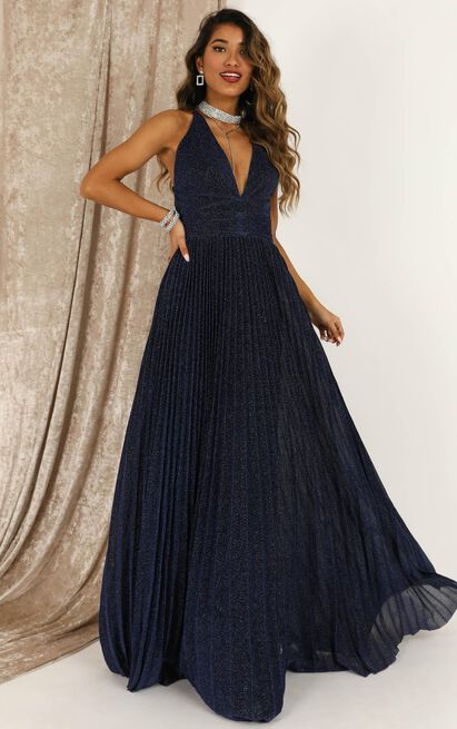 Win The Lotto Maxi Dress In Navy Lurex - 16 (XXL), Navy, hi-res image number null